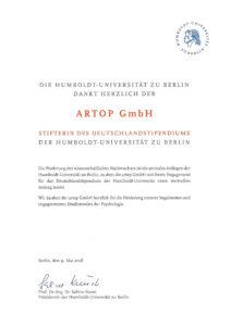 artop Deutschlandstipendium Urkunde
